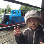 Aboard life-sized Thomas the Train with Puffing Billy